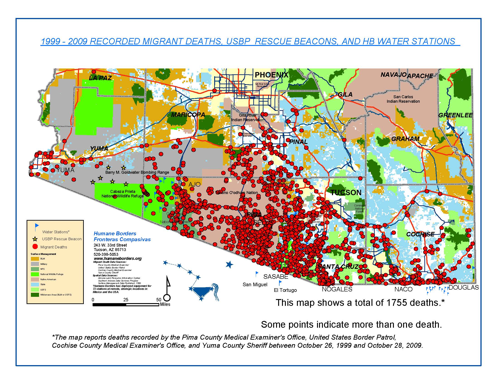 migrant deaths in the border region map humane borders 2010